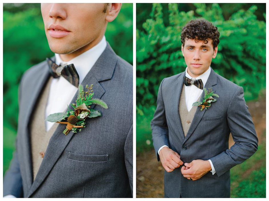 The Farm at High Shoals - Classic Wedding Tuxedo Inspiration - Rustic Boutonniere Ideas