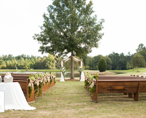 antique pews for wedding athens, ga