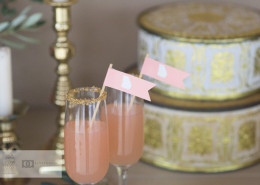 pink georgia flags in signature drinks wedding