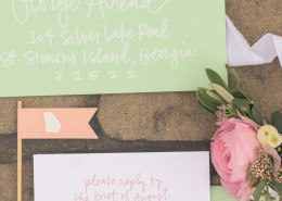 peach, pink and green spring wedding design