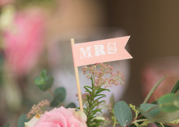mini flag signs wedding decor