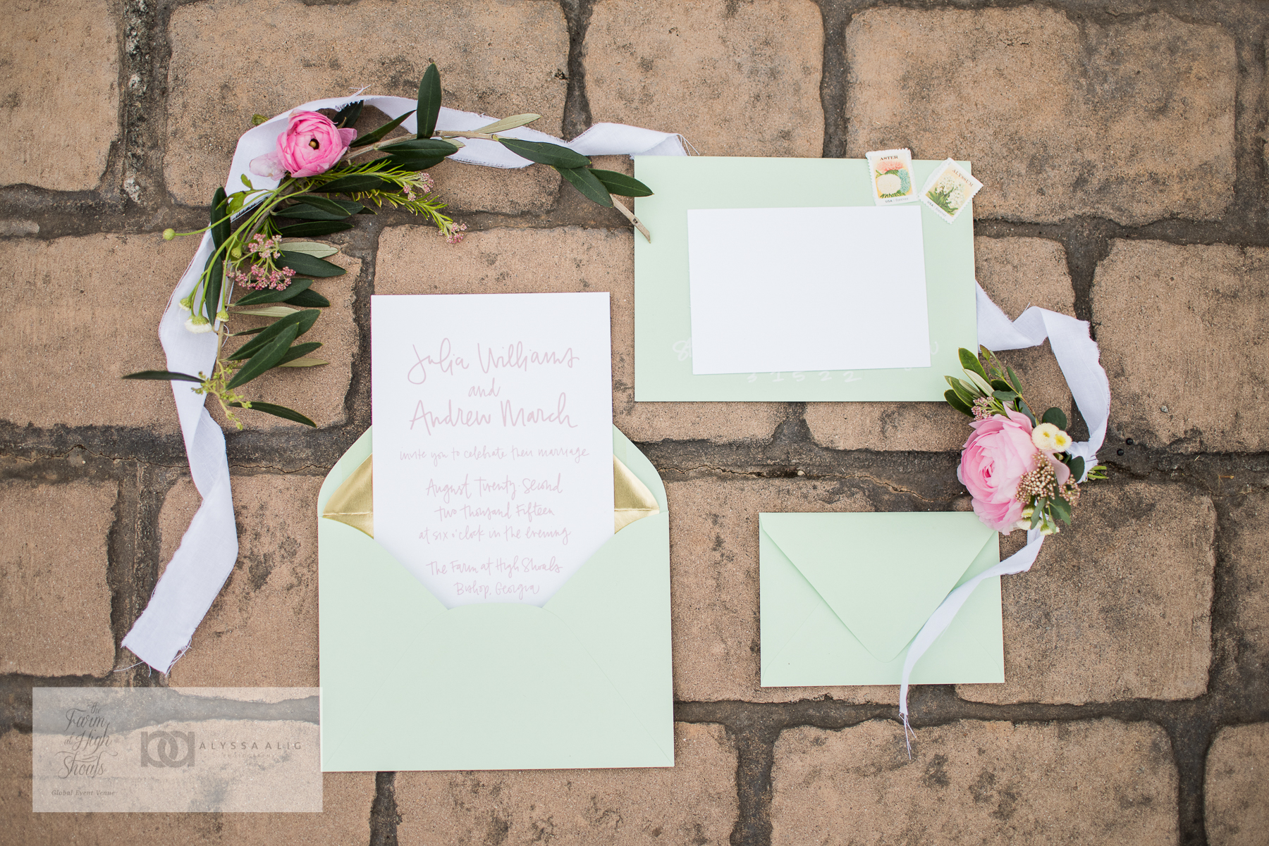 mint and gold wedding invitation design